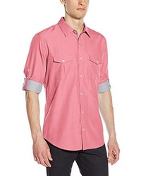 Calvin Klein Long Sleeve Cotton Tencel Chambray Roll Up Woven Shirt