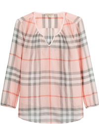 Burberry Brit Cotton Blouse With Check Print