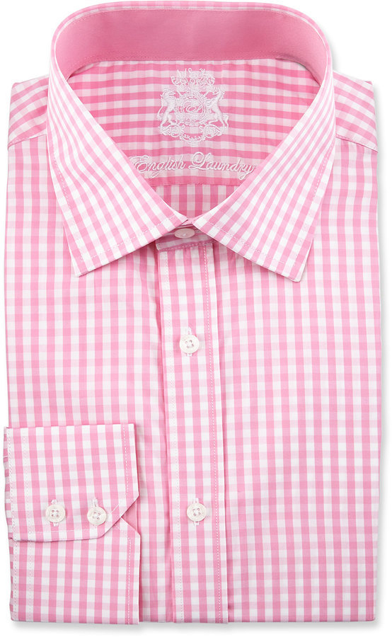 English Laundry Check Long Sleeve Dress Shirt Pink | Where to buy ...