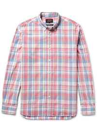Beams Plus Slim Fit Button Down Collar Checked Cotton Shirt