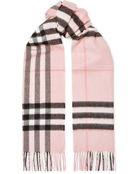 Burberry Fringed Checked Cashmere Twill Scarf