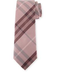 Burberry Heathered Check Silk Tie Pink