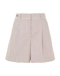 Fendi Pleated Checked Wool Blend Shorts