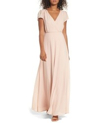 Lulus lace up back chiffon gown medium 5034760
