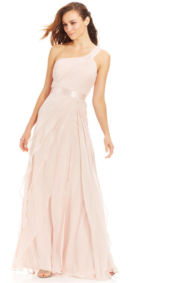 Adrianna Papell One Shoulder Tiered Chiffon Gown | Where to buy ...