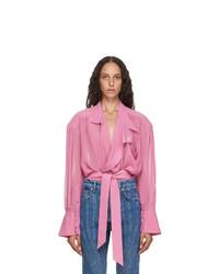 Mugler Pink Echo Chiffon Wrap Blouse