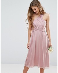Asos Wedding Ruched Mesh One Shoulder Midi Dress