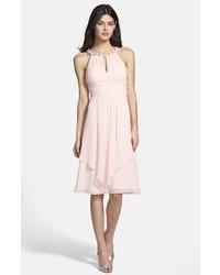 Embellished neck layered chiffon fit flare dress medium 43528