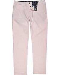 River Island Light Pink Slim Chino Pants