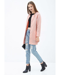 Forever 21 Collarless Scuba Knit Coat