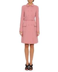Bottega Veneta Double Breasted Wool Coat Pink