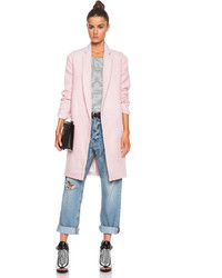 Nicholas Felted Wool Full Length Coat In Pink Orchid