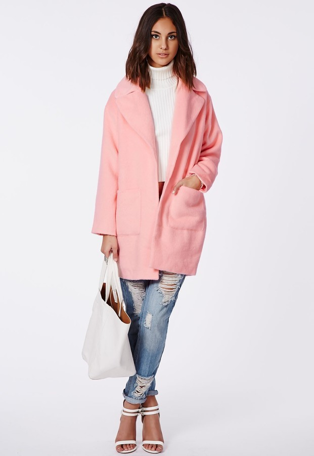Missguided Lena Oversized Cocoon Coat Pink   Where to buy & how to ...