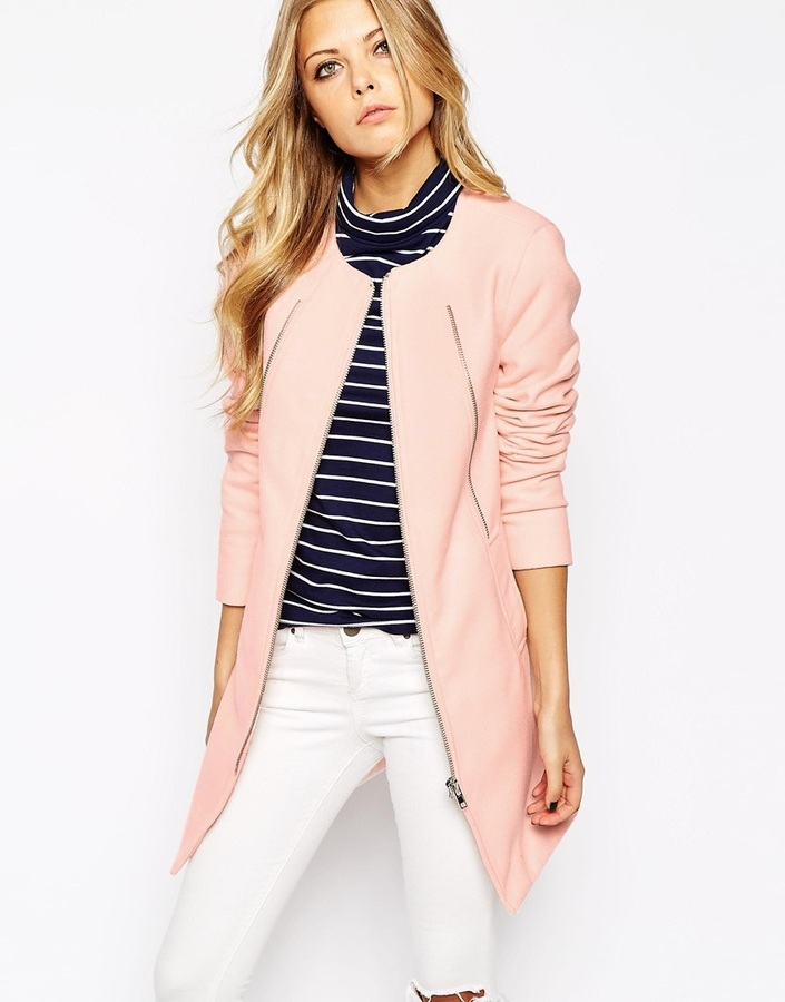 Noisy May Pastel Collarless Coat   Where to buy & how to wear