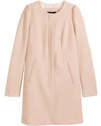 H&M Textured Woven Coat Powder Pink Ladies