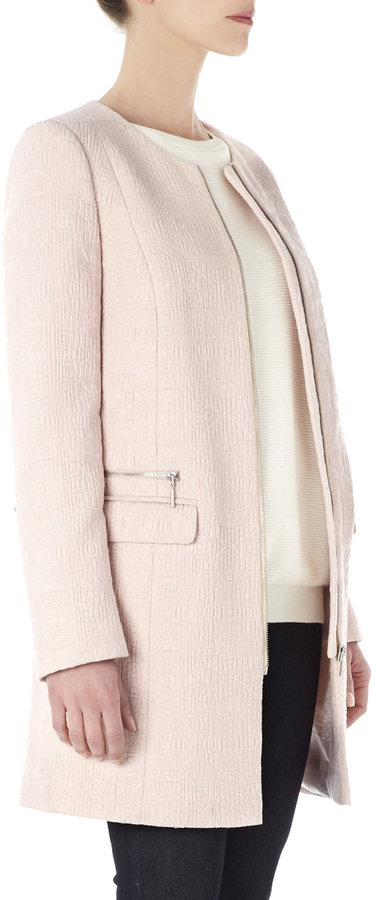 Wallis Pink Collarless Jacquard Coat | Where to buy &amp how to wear