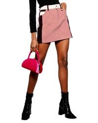 Topshop Colorblock Corduroy Miniskirt