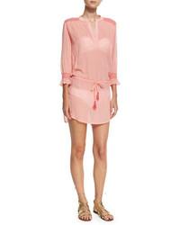 Heidi Klein Capri Smocked Coverup Tunic Pink