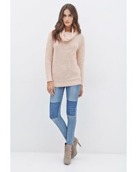 Pink Cowl-neck Sweater