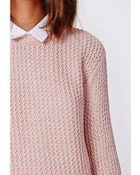 Missguided Unity Rik Rak Stitch Knit Sweater Pink | Where to buy ...