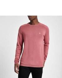 River Island Pink Slim Fit Crew Neck Sweater