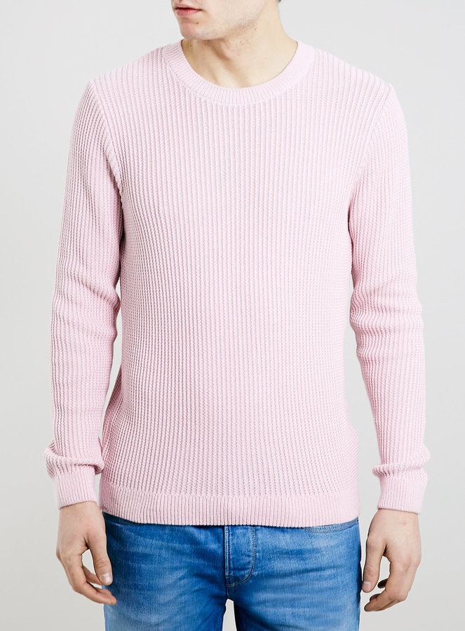 Topman Pastel Pink Vertical Rib Crew Neck Sweater | Where to buy ...