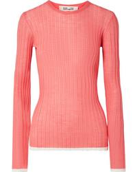 Diane von Furstenberg Two Tone Ribbed Wool Blend Sweater