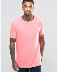 Asos Longline T Shirt With Crew Neck In Pink Fluro
