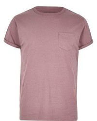 River Island Pink Chest Pocket T Shirt