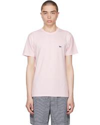 MAISON KITSUNÉ Pink Navy Fox Patch Classic T Shirt