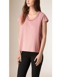 Burberry Pom Pom Detail Linen T Shirt