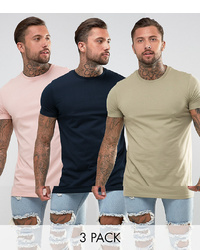 ASOS DESIGN Super Longline T Shirt 3 Pack Save