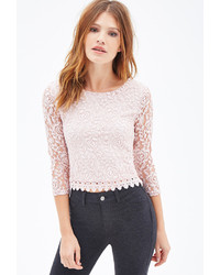 Crochet trim lace top medium 125784