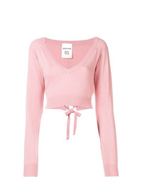 Semicouture Cropped V Neck Sweater