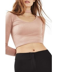 Long sleeve choker collar crop top medium 1044308