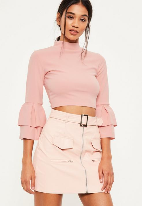 01d7b7172c7 Missguided Pink Frill Sleeve High Neck Crop Top, $38 | Missguided ...