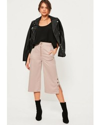 Missguided Pink Zip Front Ring Detail Popper Hem Culottes