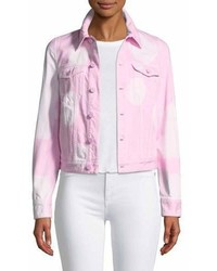 Givenchy Button Front Long Sleeve Bleached Jean Jacket