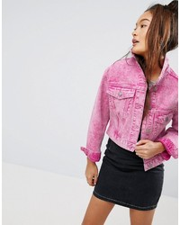 Denim jacket in washed pink medium 3727401