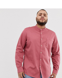 ASOS DESIGN Stretch Regular Fit Denim Shirt In Pink With Grandad Collar
