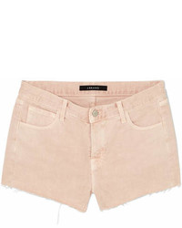 J Brand Frayed Denim Shorts Pastel Pink