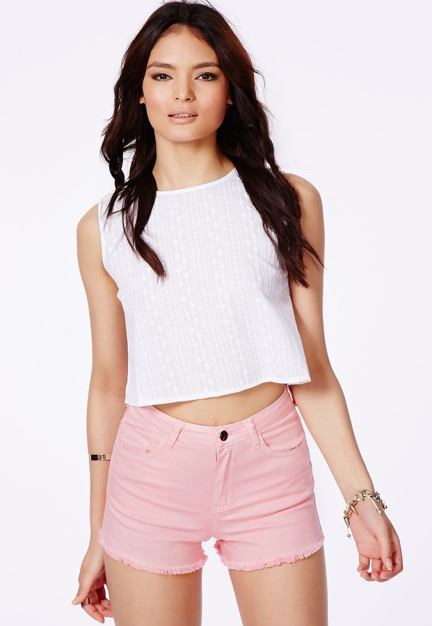 3f0cb4cce7 Missguided Linsa Baby Pink High Waisted Denim Shorts, $39 ...