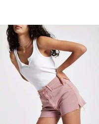River Island Pink Annie High Rise Denim Hot Pants