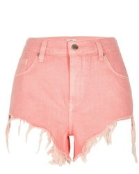 River Island Pink Frayed Hem High Side Denim Shorts