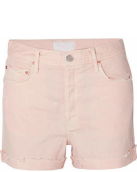 Mother The Improper Distressed Denim Shorts Pink