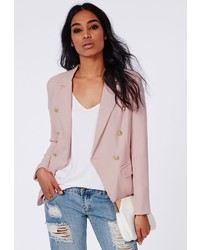 Missguided Woven Gold Button Tailored Blazer Pink