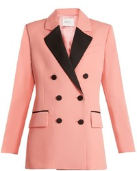 Racil paris double breasted contrast lapel wool blazer medium 6860629