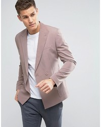 Asos Skinny Double Breasted Blazer In Dusky Pink