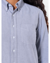 Unisex stone wash oxford long sleeve button down with for Jones new york no iron easy care boyfriend shirt