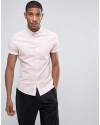 Asos Casual Skinny Oxford Shirt In Pink